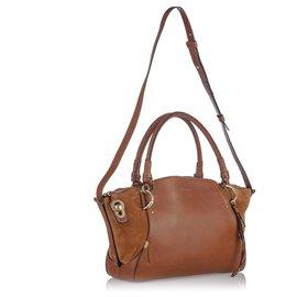 Chloé-Chloe Brown Leather Owe Satchel-Brown,Light brown