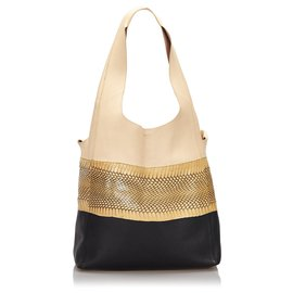 Céline-Celine Brown Snakeskin Leather Cabas Hobo-Brown,Black,Beige