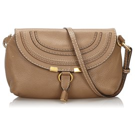 Chloé-Chloe Brown Small Leather Marcie Crossbody Bag-Brown,Light brown