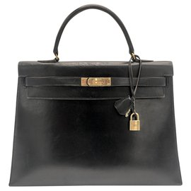 Hermès-hermes kelly 35 box black leather-Black