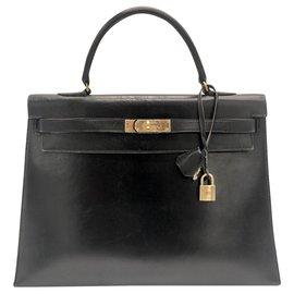 Hermès-hermes kelly 35 boîte en cuir noir-Noir