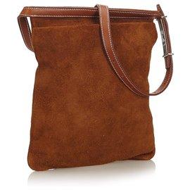 Hermès-Hermes Brown Suede Leather Belt Bag-Brown