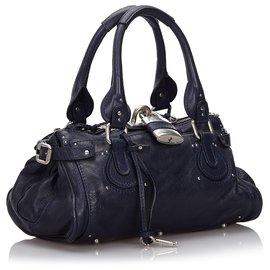 Chloé-Chloe Blue Leather Paddington Handbag-Blue,Navy blue