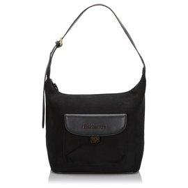 Burberry-Burberry Black Suede Shoulder Bag-Black