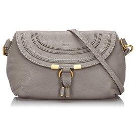 Chloé-Chloe Gray Small Leather Marcie Crossbody Bag-Grey