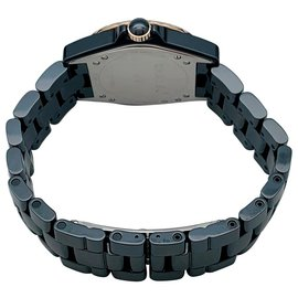 Chanel-Chanel J watch12 ceramic, steel, pink gold and diamonds.-Other