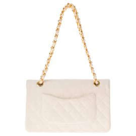 Chanel-Chanel Mademoiselle handbag in quilted white linen, golden hardware!-White