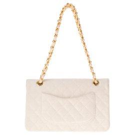 Chanel-Sac à main Chanel Mademoiselle en lin blanc matelassé, accastillage doré !-Blanc