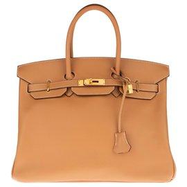 Hermès-HERMES BIRKIN 35 Epsom Gold leather, deck hardware gold plated, In very good shape !-Golden