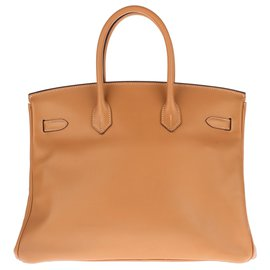 Hermès-HERMES BIRKIN 35 Epsom Gold leather, deck hardware gold plated, In very good shape !-Golden