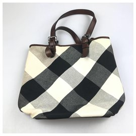 Burberry-Burberry White Mega Check Canvas Tote Bag-White,Multiple colors
