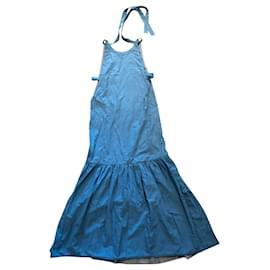 Louis Vuitton-Halterneck blue cotton dress-Bleu