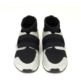 Chanel-GLITTER BLACK FR39-Black,Silvery