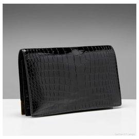 Hermès-COINS GOLD 18K BLACK CROCO-Black