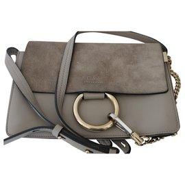 Chloé-Faye Small Shoulder Bag-Grey