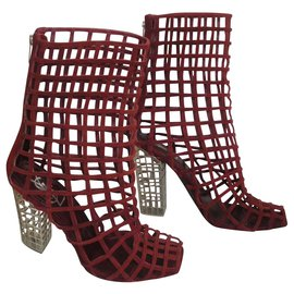 Yves Saint Laurent-Ankle Boots-Dark red