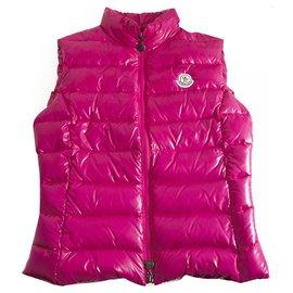 Moncler-Moncler Ghany Bright Pink Puffer Gillet Vest Gilet sans manches taille 2-Rose