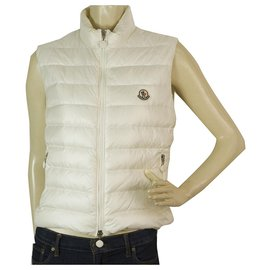 Moncler-Moncler Haruka Off White Puffer Gillet Vest Gilet sans manches taille 2-Écru