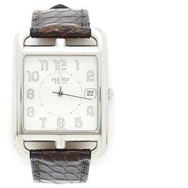 Hermès-CAPE COD sizeM CROCO-Silvery