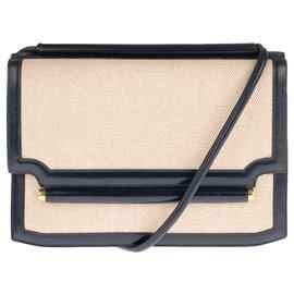 Hermès-Sac Hermès bandoulière  vintage bi-matière en toile H beige & cuir box marine en excellent état!-Beige,Bleu Marine
