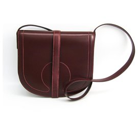 Hermès-Hermes Red Leather Crossbody Bag-Red,Other