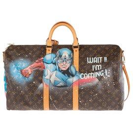 """Louis Vuitton-Sac Louis Vuitton Keepall 55 à bandoulière customisé """"Captain America"""" par l'artiste PatBo !-Marron"""