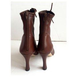 Céline-Glove boots with laces-Brown,Dark brown