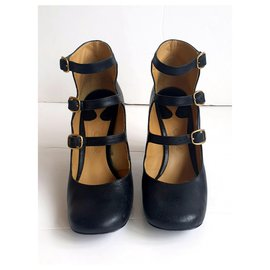 Chloé-buckle maryjanes-Black,Golden