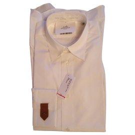 Hermès-Chemise ajustée Col droit souple popeline-Blanc