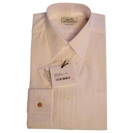 Hermès-Chemise droite col droit popeline-White