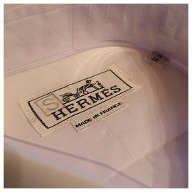 Hermès-Chemise droite col droit popeline-Blanc