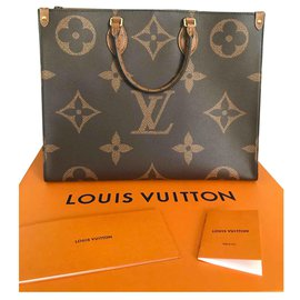 Louis Vuitton-Sac cabas inversé Monogram Go Giant-Marron,Beige,Doré