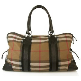 Burberry-Burberry Boston Nova Check Keepall Bandouliere Luggage Duffle Travel Weekend Bag-Beige