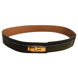 Hermès-Belts-Black,Golden