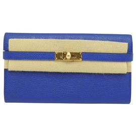 Hermès-HERMES KELLY WALLET POUCH / WALLET / MINI BAG-Blue