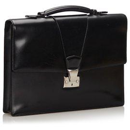 Cartier-Cartier Black Leather Briefcase-Black