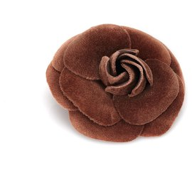 Chanel-Chanel Brown Velour Camellia Brooch-Brown,Dark brown