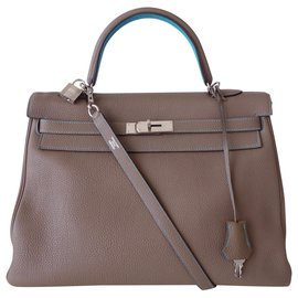 Hermès-HERMES KELLY BICOLORE BAG-Blue,Grey