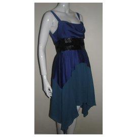 Halston Heritage-Asymmetric dress-Black,Blue,Green