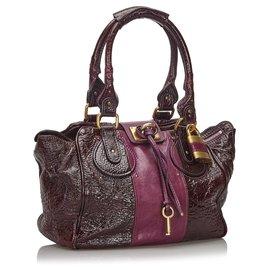 Chloé-Chloe Purple Patent Leather Paddington Handbag-Purple