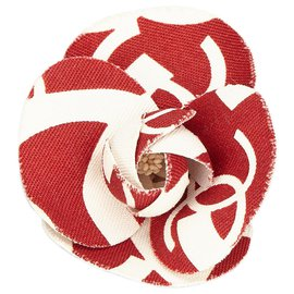 Chanel-Chanel White Printed Cotton Camellia Brooch-White,Red