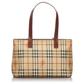Burberry-Burberry Brown Haymarket Check Tote Bag-Brown,Multiple colors,Beige