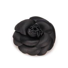 Chanel-Chanel Black Fabric Camellia Brooch-Black