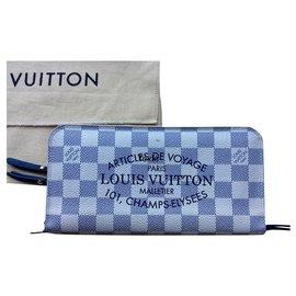 """Louis Vuitton-Louis Vuitton long wallet Damier Azur model """"Unusual""""-Blue,Beige"""