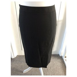 Burberry-Black silk pencil skirt-Black