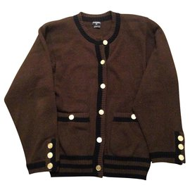 Chanel-Chanel two-tone cardigan cashmere vest cardigan-Brown