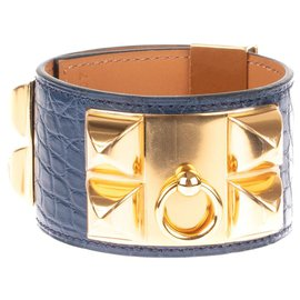 Hermès-Gorgeous Hermes Bracelet Blue Mississippi Alligator Dog Necklace, gold plated hardware, new condition!-Blue