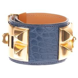 Hermès-Superbe Bracelet Hermès Collier de Chien en Alligator de Mississipi bleu, accastillage plaqué or, état neuf!-Bleu