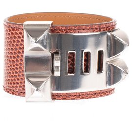 Hermès-Hermès bracelet Dog collar in Cognac lizard leather, hardware in palladium silver, new condition!-Golden
