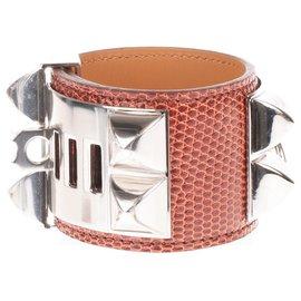 Hermès-Bracelet Hermès Collier de chien en cuir de lézard couleur Cognac, accastillage en argent palladié, état neuf !-Doré